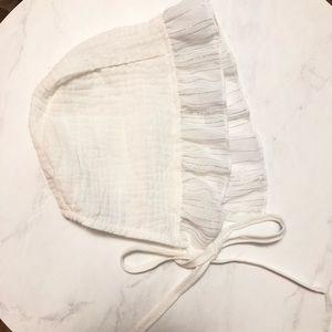 White baby girl bonnet
